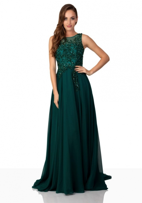 Fashion dark green evening dresses long chiffon with lace prom dresses cheap