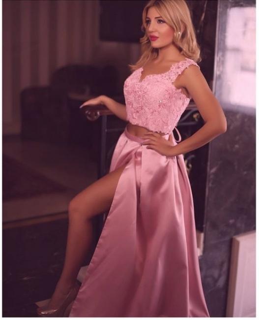 Simple Evening Dresses Pink Lace 2 Piece Floor Length Prom Dresses