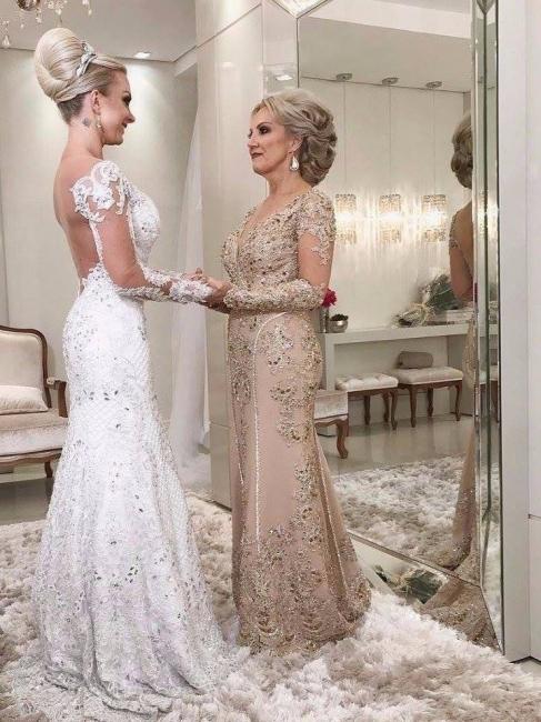 Golden Brautmutterkleider Spitze Mit Ärmel Günstig Abendkleider für Hochzeit Online