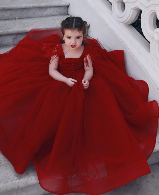 Wine red flower girl dresses princess tulle flower girl dresses cheap online