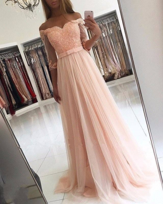 Elegant evening dresses long pink with sleeves evening wear lace cheap