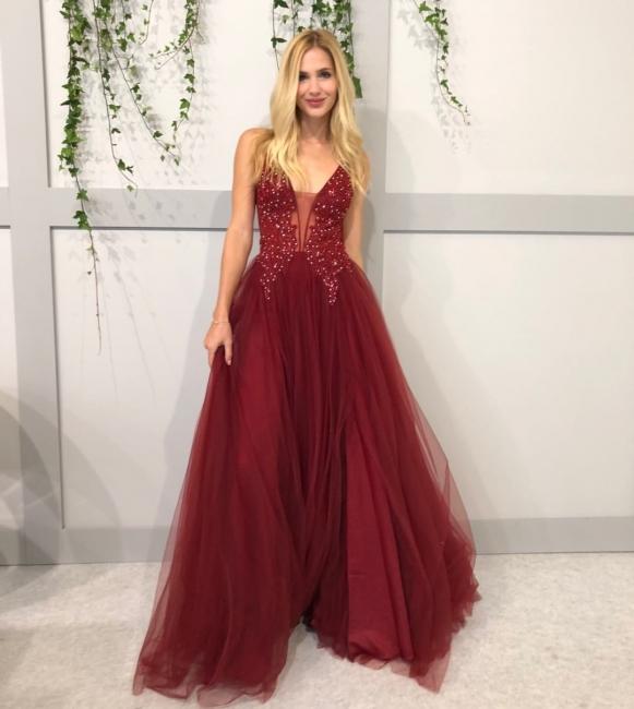 Elegante Abendkleider Lang Rot | Tüll Abendkleid Abiballkleider Online