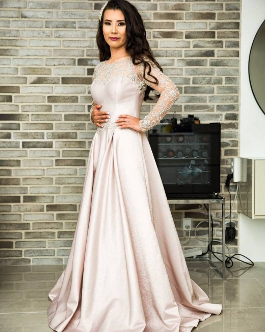 Fashion evening dresses long pink | Evening wear with lace sleeves