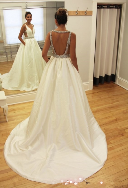 White A Line Wedding Dresses Beaded Taffeta Bridal Wedding Dresses