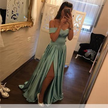 Blau Abendkleider Lang Günstig Schulterfrei Abiballkleider Online