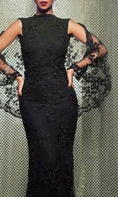 Elegant Evening Dresses Long Black Lace Mermaid Evening Wear Prom Dresses Cheap