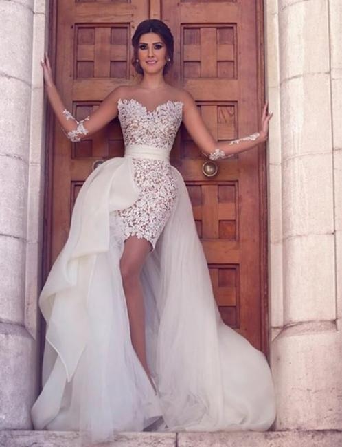White Wedding Dresses Lace Short Long Tulle Bridal Wedding Dresses