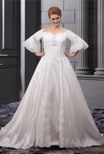Long Sleeves Wedding Dresses Large Size With Lace A line Taffeta Plus Size Wedding Dresses