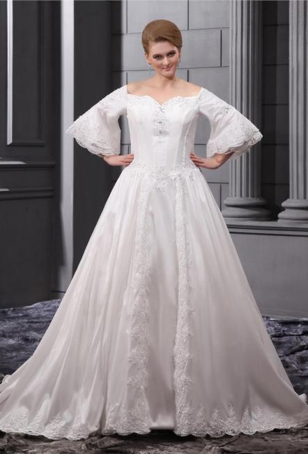 Lange Ärmel Brautkleider Große Größe Mit Spitze A linie Taft Übergröße Hochzeitskleider