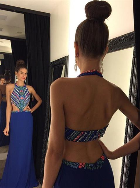 Long Evening Dresses Royal Blue Beaded Chiffon Sheath Dresses Prom Dresses
