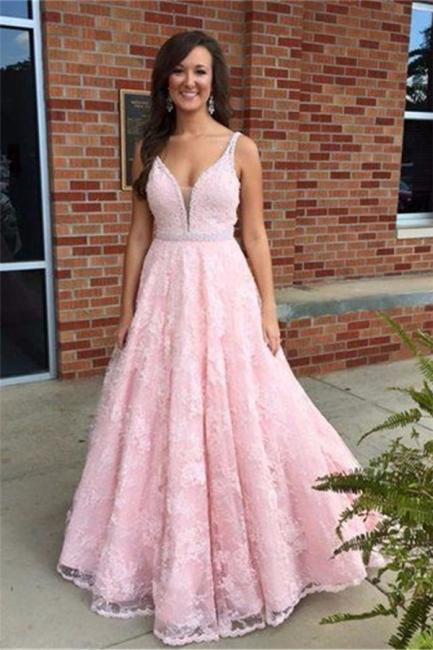 Rosa Abendkleider Lang Spitze V Ausschnitt A Linie Abschlussballkleider Partykleider