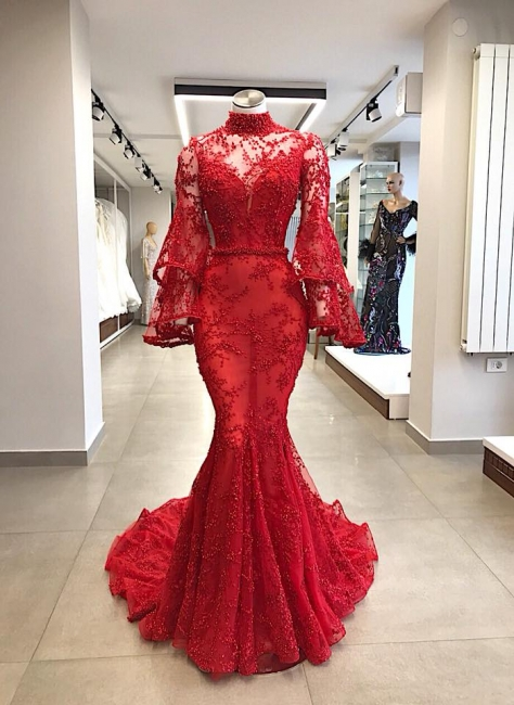 Elegant evening dresses red lace | Prom dresses long with sleeves