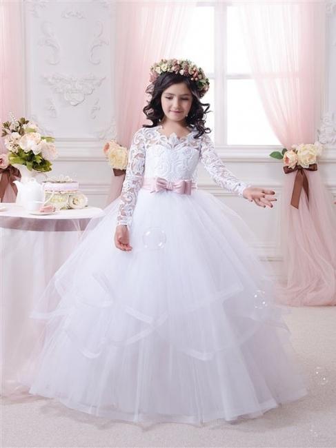 White flower girl dresses long sleeves princess dresses for flower children