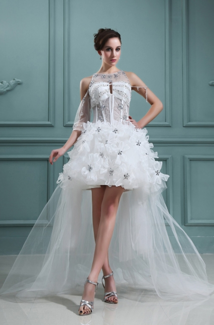 Design white wedding dresses short orgnazza tulle wedding gowns with train