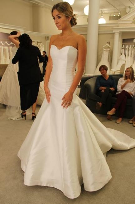 Schlichte Hochzeitskleider Satin Meerjungfrau Brautkleider Günstig Online