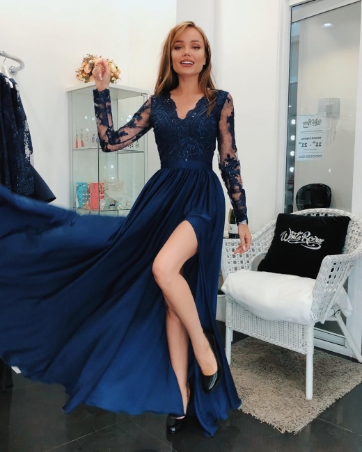 Dark Blue Evening Dresses Long Cheap Lace Evening Wear With Sleeves