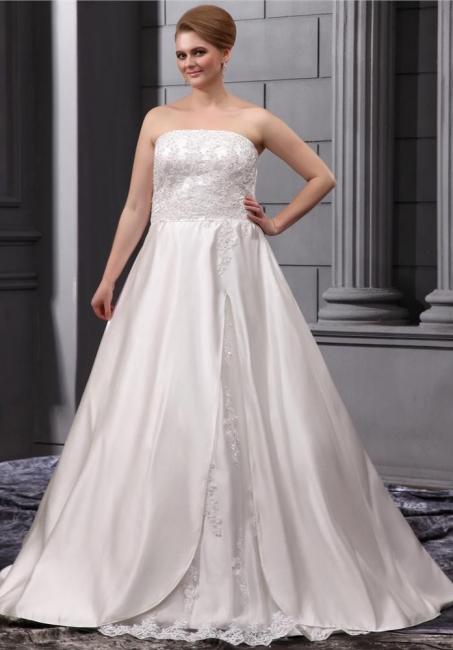 Elegant Wedding Dresses Large Size White A Line Satin Wedding Gowns Plus Size Cheap