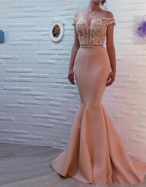 Apricot Evening Dresses Long Cheap Mermaid Schuterfrai Prom Dresses Evening Wear