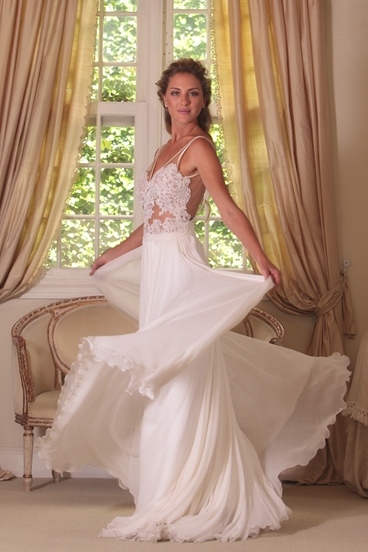 Cheap Wedding Dresses Beach Chiffon With Lace Straps Backless Floor Length Bridal Wedding Dresses
