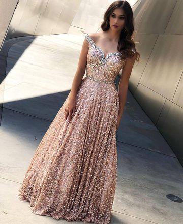 Elegante Abendkleid Lang Rosa | Abendkleider Mit Glitzer