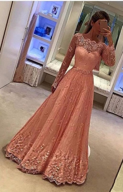 Pink Evening Dresses Lace Long Sleeves A Line Floor-Length Evening Wear Prom Dresses Cheap