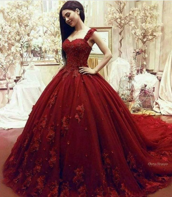 Red Evening Dresses Long With Lace Tulle Princess Evening Wear Online