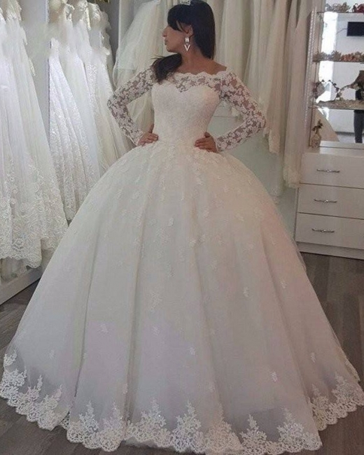 Simple Tulle Long Sleeve Ball Gown Wedding Dresses With Lace