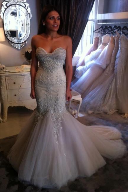 Luxurios Abendkleider Mit Spitze Kristall Meerjungfrau Tüll Abendmoden Abschlussballkleider