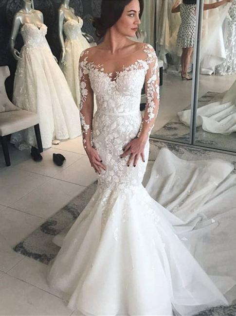 Modern Brautkleider mit Spitzenärmel | Hochzeitskleid Meerjungfrau Online