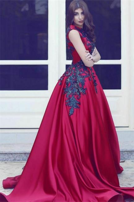 Rot Abendkleider Lang Mit Spitze A Linie Satin Abendmoden Abiballkleider