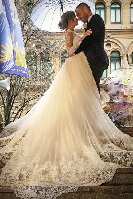 Weiße Brautkleider Mit Lang Ärmel Herzförmig Spitze Brautmoden Hochzeitskleider Online