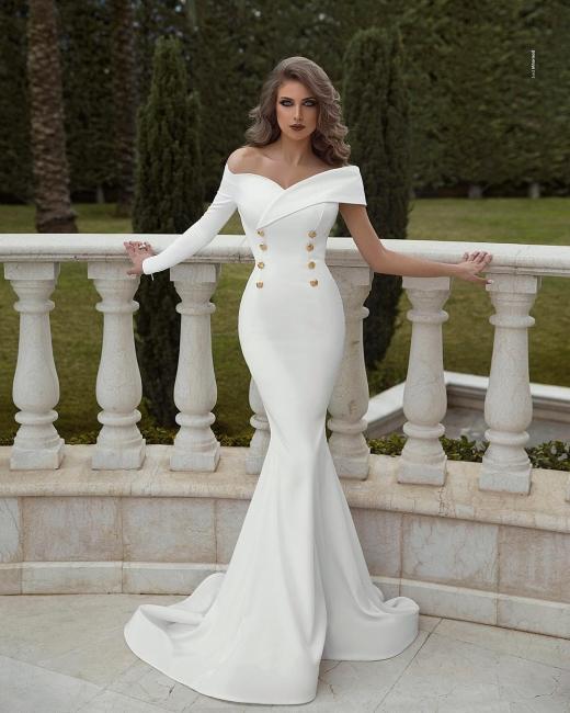 Elegant Long Evening Dresses Cheap | White prom dresses online at Kuafen
