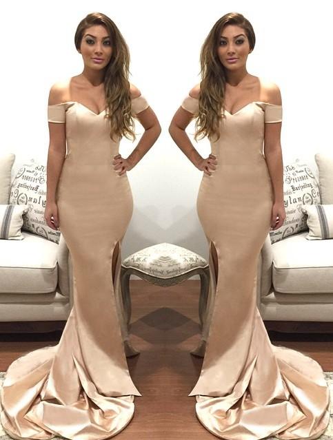 Champagne Evening Dresses Long Cheap Mermaid Chic Evening Dress Cheap