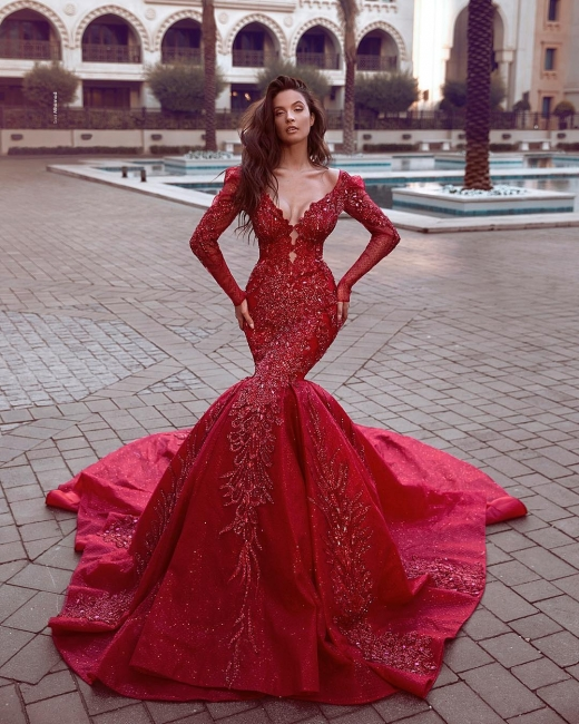 Fashion Red Evening Dresses Long Cheap | Evening dress with sleeves