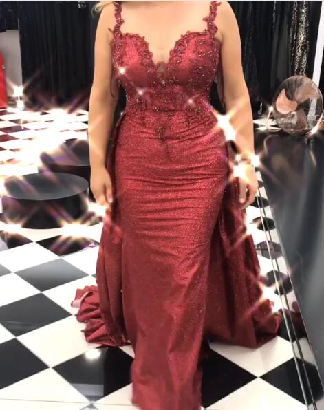 Elegant Evening Dresses Wine Red With Lace Evening Wear Prom Dresses Online