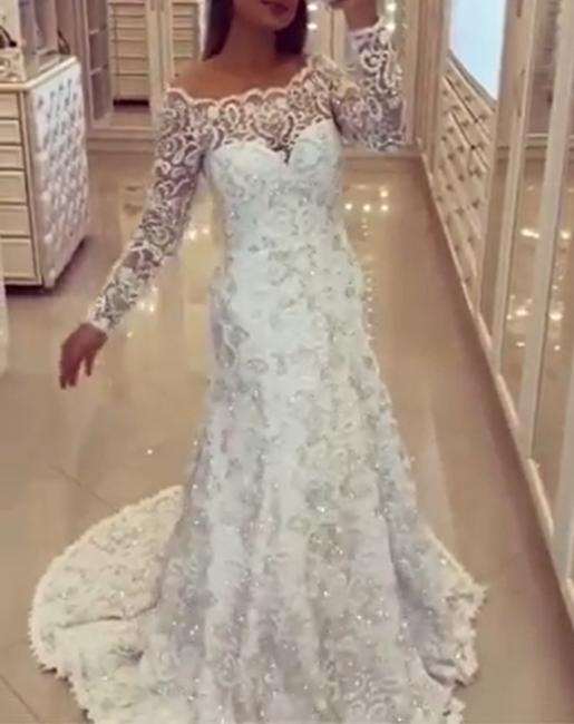 Spitze Brautkleider Weiß Meerjungfrau Stil Schlepper Hochzeitsmoden Brautmoden
