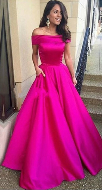 Fuchsia Long Evening Dresses Satin Off Shoulder A Line Evening Wear Prom Dresses
