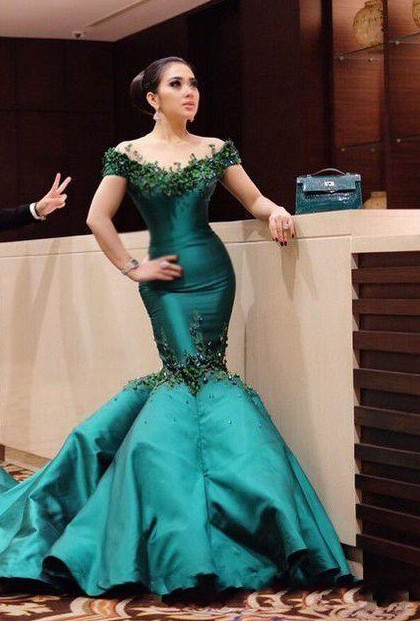 Turquoise Evening Dresses Long Cheap With Sleeves Mermaid Evening Wear Prom Dresses
