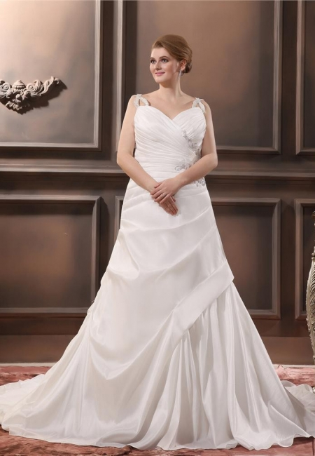 Beautiful Wedding Dresses Large Size Straps A Line Taffeta Wedding Gowns Oversized