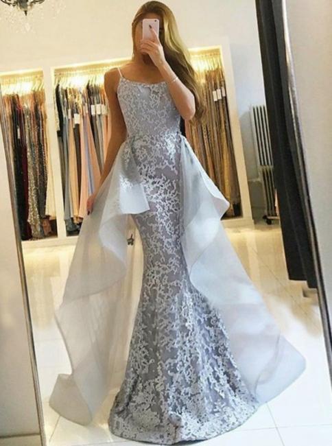 Elegante Silber Abendkleider Lang Günstig | Spitze Abendmoden Online