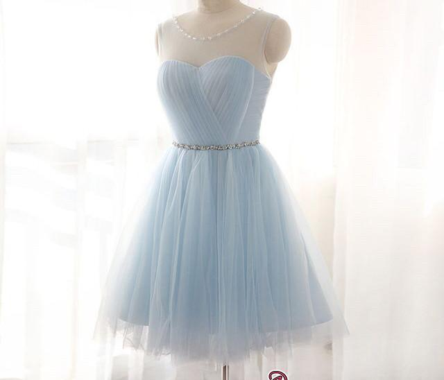 Blue Short Prom Dresses Tulle Knee Length Cocktail Dresses Evening Wear