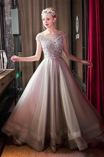 Luxury evening dresses long cheap beaded floor length prom dresses evening wear online