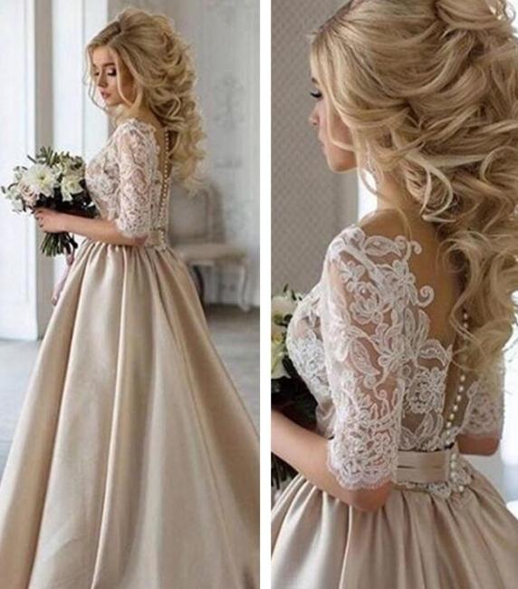 Vintage Champange Long Sleeve Lace A Line Wedding Dresses