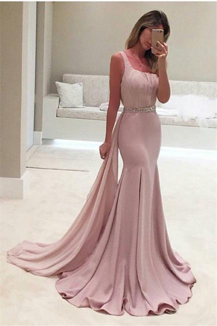 Pink Long Evening Dresses Mermaid Style Satin Beaded Evening Wear Prom Dresses