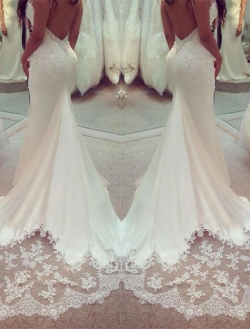 Elegant Wedding Dress White Lace Mermaid Backless Bridal Wedding Dresses Online