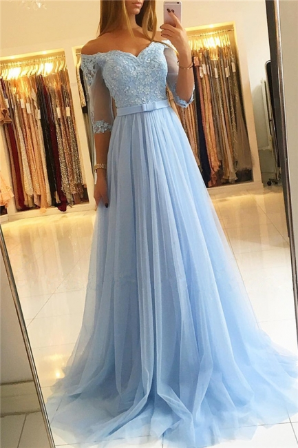 Lighter Blue Evening Dresses Long Cheap | Prom dresses with sleeves