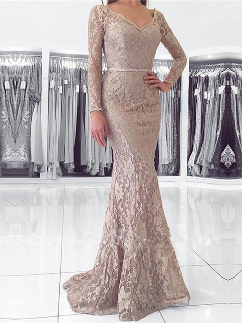 Fashion Lace Evening Dresses Long Sleeves Mermaid Aiball Dresses Prom Dresses Online