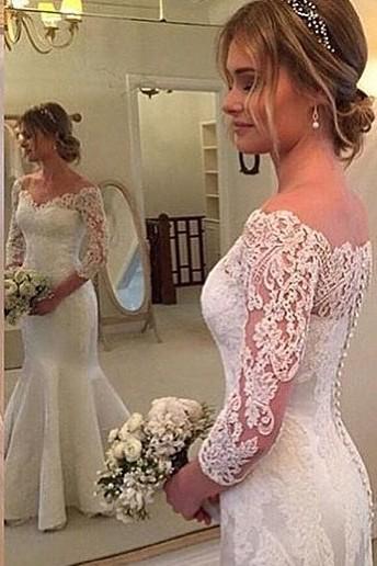 Weiß Brautkleider Lang Ärmel Mit Spitze Herz Hochzeitskleider Brautmoden