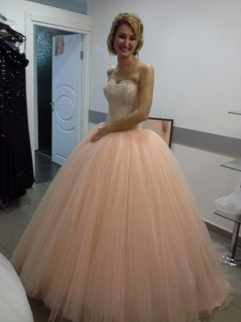 Apricot Quinceanera Dresses Long Cheap Princess Beaded Evening Dresses Prom Dresses