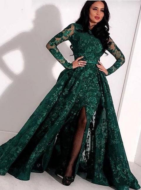 Designer Abendkleider Mit Ärmel Grün | Spitze Abendmoden Abiballkleider